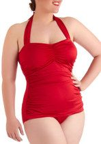 Esther Williams Bathing Beauty One Piece in Red - Plus Size | Mod Retro Vintage Bathing Suits | ModCloth.com
