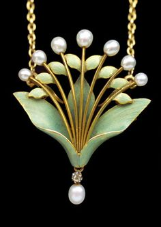 ANDRE RAMBOUR Lilly of the Valley Pendant Brooch gold enamel pearl diamond - Art Nouveau Jewelry (Case top marked: 'M.R. 18 Mars 1903')