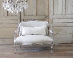 Antique French Louis XV Carved Roses Open Arm Settee from Full Bloom Cottage Mahogany Furniture, White Furniture, Cheap Furniture, Sofa Furniture, Discount Furniture, Rustic Furniture, Furniture Design, Painted Furniture, Furniture Factory