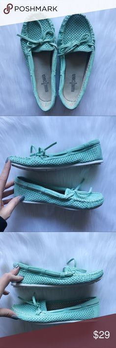 Minnetonka Suede Leather Moccasins Mint Green 7.5 Adorable moccasins by Minnetonka. Classic style in a mint green suede leather. Perforated toe area and rubber sole. EUC from a smoke free home!  ⭐️no trades⭐️ ⭐️I'm open to offers and I ALWAYS send a counteroffer⭐️ Minnetonka Shoes Moccasins