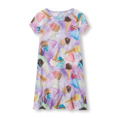 Baby Girls Short Sleeve Photo-Real Dessert Print Nightgown - Purple - The Children's Place