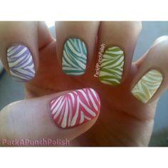 Zebra nail art by rosemary
