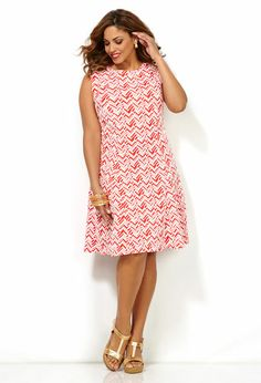 Textured Fit and Flare Dress-Plus Size Dress-Avenue