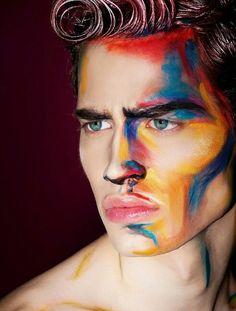 Make-up-Halloween-Mann-Idee-Original-in-Farben-Aquarell - . - Make-up-Halloween-Mann-Idee-Original-in-Farben-Aquarell – … - Fx Makeup, Beauty Makeup, Makeup Man, Guys Makeup, Body Makeup, Drag Makeup, Runway Makeup, Makeup Style, Hair Makeup