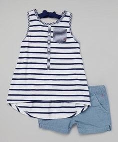 Another great find on Nautica Navy Stripe Trapeze Tank & Chambray Shorts - Toddler & Girls by Nautica Little Girl Outfits, Little Girl Fashion, Toddler Fashion, Toddler Outfits, Kids Fashion, Cute Outfits, Toddler Girls, My Baby Girl, Baby Girls