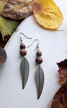 Handmade earrings with jasper.