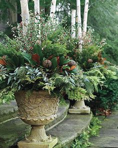 10 Winter Garden Ideas, Most of the Amazing as well as Attractive - Garden Decor Outdoor Christmas Planters, Christmas Urns, Winter Container Gardening, Container Plants, Patio Plants, Garden Planters, Rocks Garden, Herb Garden, Winter Planter