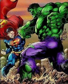 (Superman X Hulk) By: Alesampa. Hulk Marvel, Hulk Vs Superman, Marvel Dc Comics, Avengers, Comic Book Characters, Comic Book Heroes, Marvel Characters, Base Anime, Marvel And Dc Crossover