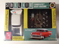 This is the 1/25 Scale '57 Chevy Bel Air Complete Slot Racing Kit from AMT. Suitable for Ages 14 & Up. FEATURES: Build, decorate and race a fully featured slot car All necessary components ready to as