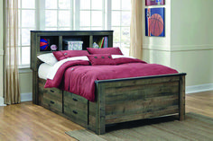 Shop Ashley Furniture Trinell Full Bookcase Bed with Underbed Storage with great price, The Classy Home Furniture has the best selection of Kids Beds, Beds to choose from Full Bed With Storage, Under Bed Storage, Bookcase Headboard, Bookcase Storage, Drawer Storage, Linen Storage, Rustic Panel Beds, Bed With Underbed, Wooden Bed Frames