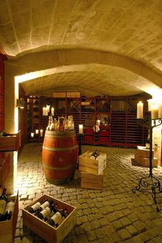 Wine Cellar.  I love the stone and wood combination.