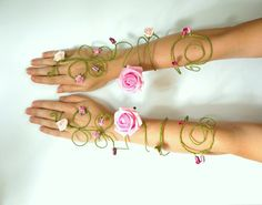 Pair of pink rose and buds flower fairy arm cuffs, slave bracelet  prom wedding bouquet bride, bridesmaids, flower girls whimsical woodland on Etsy, $77.20 AUD