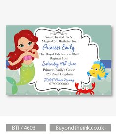 Personalised Little Mermaid Princess Ariel Invitations.  Printed on Professional 300 GSM smooth card with free envelopes & delivery as standard. www.beyondtheink.co.uk