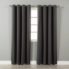 Black 66 x 90 Ring Top Thermal Blackout Curtains Light Reducing Curtains for Plain Room Darkening Living Rooms Nursery Bedrooms