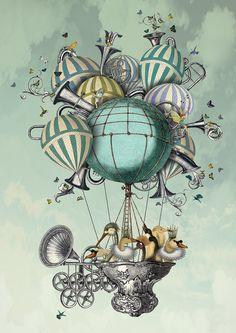 Aves Piger Limited Edition 14x11  hot air balloon por SuziGordon