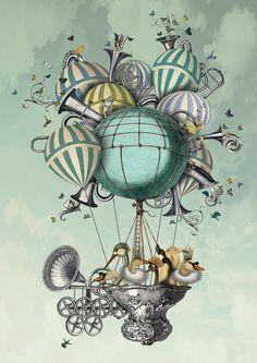 Aves Piger Limited Edition 14x11  hot air balloon por SuziGordon
