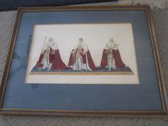vintage GEorge IV handcolored print art gold frame coronation 19th c Royalty For sale contact tmmassari@aol.com