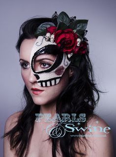 "Image of ""La Calavera Catrina"" Mexican Day of the Dead Half Mask Halloween Pop Surreal Headdress"