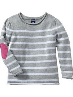 Striped Elbow-Patch Sweater <3 in Heather Grey, 4T $17