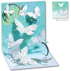 Spiral pop up example. swarm of butterflies on a coiled path.beautiful pop-up card! by fay Pop Up Greeting Cards, Pop Up Box Cards, Greeting Cards Handmade, Kirigami, Fancy Fold Cards, Folded Cards, Stampin Up Karten, Interactive Cards, Shaped Cards