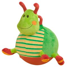 Gregory Grasshopper Bouncersize Buddy ages 3-7 by Rockabye    The classic bouncy rubber ball with handle that you sat on and bounced around as a kid, but dressed up as various plush animals.