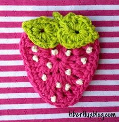 Fiber Flux...Adventures in Stitching: Free Crochet Pattern...Summer Strawberry Applique!