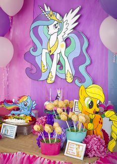 My Little Pony Birthday Party dessert table! See more party ideas at CatchMyParty.com!