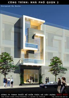 hiết kế nhà phố hiện đại quận 2 gồm 3 tầng lầu nhưng nhờ ý tưởng thiết kế mới lạ đã xóa đi sự phân chia cụ thể. Mặt tiền các tầng lầu dùng kính và màu sơn đậm nhạt tạo sự ngăn cách ước lệ cho thiết kế nhà phố.