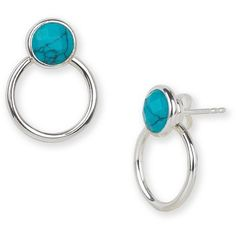 Argento Vivo Turquoise and Sterling Silver Geometric Drop Earrings ($38) ❤ liked on Polyvore featuring jewelry, earrings, silver, blue turquoise earrings, sterling silver post earrings, post drop earrings, sterling silver turquoise jewelry and drop earrings