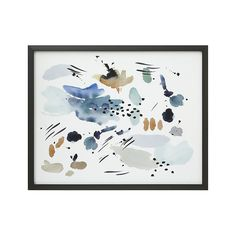Shop Earth Tone Abstract Art.  Pools and washes of tonal blues and earth tones do an abstract dance on pure white, offering a glimpse into nature's subtle shifts.