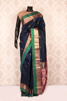 Navy #blue multicoloured woven silk angelic #saree with antique #gold & bottle #green border-SR11197