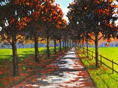 Tree Lined Road Commissioned painting by Patty por pattyabaker