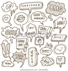 Find Set Cute Speech Bubble Doodle Style stock images in HD and millions of other royalty-free stock photos, illustrations and vectors in the Shutterstock collection. Banks Icon, Web Design, Drawing Journal, Bubble Art, Comic Panels, Web Inspiration, Bullet Journal Ideas Pages, Rock Crafts, Graffiti