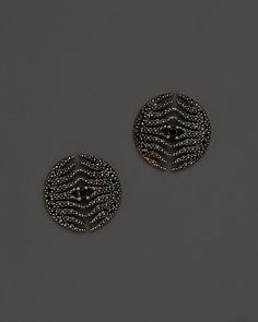 Mizuki 14K Yellow Gold Feather Medallion Earrings with Black Diamonds
