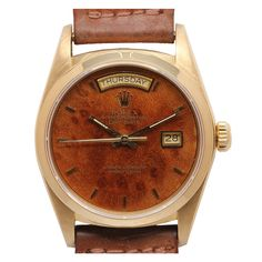 ROLEX Yellow Gold Day-Date President Wristwatch with Burl Wood Dial Ref 18038