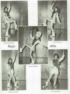 1968 Majorettes in the yearbook of Crestview high school in Convoy, Ohio.  #Crestview #yearbook #1968