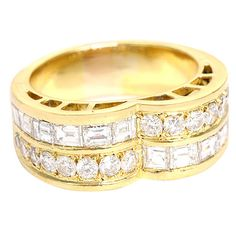 GOLD COSTUME ewelry neiman marcus | Neiman Marcus Yellow Gold and Diamond Band Ring at 1stdibs