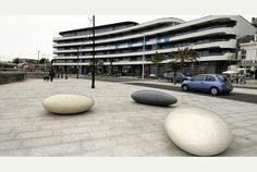 THREE giant pebbles have been placed in front of the Palm Court redevelopment on Torquay seafront.  The art installation (pictured) is part of the £12million Abbey Sands development work that...