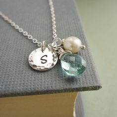 March birthstone necklace personalized necklace by KGarnerDesigns
