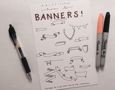 Cute banners for study note cards and titles