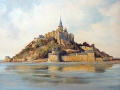 Watercolor Artists, Watercolour Painting, Watercolours, Le Mont St Michel, Medieval, Art Carte, St Michael, Aesthetic Art, Monet