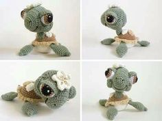 Crocheted miss turtle