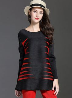 Stylish Hit Color Loose Long Sleeve T-shirt