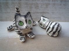 Vintage Ceramic Cats, 2 Miniature Black and White Cats, Philip Laureston, Retro Animal Figurine, Black and White Stripy Cats with Green Eyes