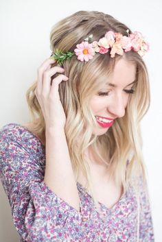 DIY Flower Crowns with Oh Dina Diy Flower Crown, Diy Crown, Flower Crowns, Easy Diy Projects, Diy Tutorial, Beads, Hair Ideas, Cord, Flowers