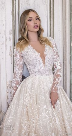 wona 2020 couture bridal long sleeves deep sweetheart neckline full embellishment glamorous princess ball gown a line wedding dress covered back chapel train zv -- WONÁ Couture 2020 Wedding Dresses Wedding Dresses For Girls, Bridal Wedding Dresses, Girls Dresses, Lace Wedding, Couture Wedding Gowns, Couture Bridal, Couture Dresses, Sunmer Dresses, Alfred Angelo Bridesmaid