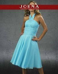 Blue Halter Tea Length Bridesmaid Dress 632