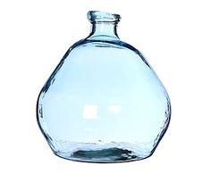 Jarrón de vidrio reciclado, azul - altura 50 cm