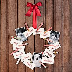Clothes Pin Wreath.  wire wreath form, cloth tapes, pictures.  Quick, simple, fun.