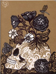 Skull and Flowers on Cahier Moleskine. Made with pens and opaque markers. Click This to see how the beginning stages of this artwork. Let's be friends! http://hydropackulicity.tumblr.com